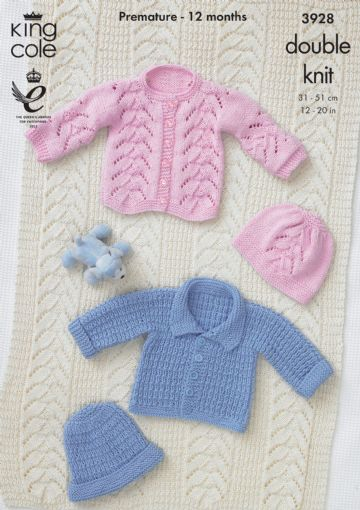 Jacket, Hat and Blanket Knitting Pattern King Cole 3928. Prem to 12 months